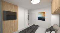Moderná spálňa v kombinácii bielej a prírodného dreva