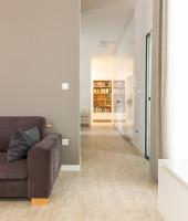 Sivá moderná pohovka a priehľad na knižnicu