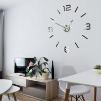 Obývačka s 3D nalepovacími hodinami