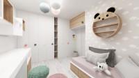 Detská izba so vstavanými skriňami v bielo-ružovej kombinácii