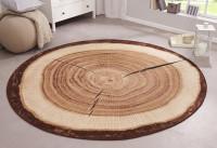 Okrúhly protišmykový koberec s motívom dreva