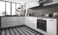 Leslá čierno-biela kuchynská linka