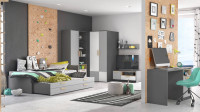 Moderná chlapčenská izba so šedým nábytkom