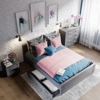 Romanticky ladená spálňa so zásuvkovým nábytkom