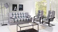Moderná obývacia izba so sivou sedacou súpravou s kreslami