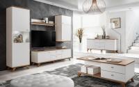 Moderná obývacia izba s laminátovým bielym nábytkom