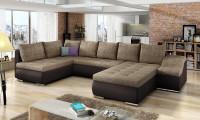 Priestranná obývacia izba s veľkou hnedou sedačkou