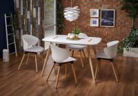 Jedáleň v minimalistickom štýle s bielou jedálenskou zostavou