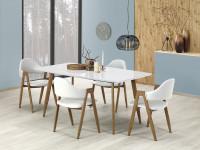 Bielo hnedý jedálenský stôl a stoličky