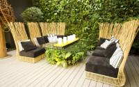 Záhradné sedenie z prútia s originálnym stolom