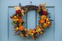 Jesenný veniec na dverách