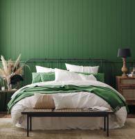 Kovová posteľ v spálni s drevenou zelenou stenou
