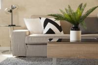 Béžová pohovka a minimalistický stolík s vázou