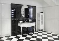 Štýlový kúpeľňový nábytok v luxusnej čiernobielej kúpeľni