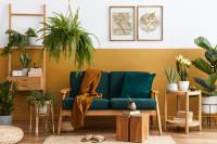 Zelená retro pohovka v kontraste so žltou stenou
