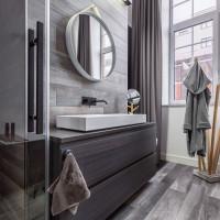 Moderná kúpeľňa v sivých tónoch