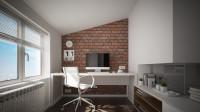 Biely písací stôl v úzkej pracovni s tehlovou stenou