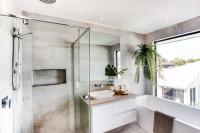 Sprchový kút a umývadlo so skrinkou v modernom štýle