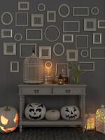 Odkladací stolík s jesennými dekoráciami v bielo sivej provensálskej obývačke