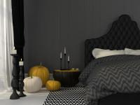 Čalúnená manželská posteľ v tmavej spálni s jesennými dekoráciami