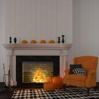 Oranžové kreslo ušiak v obývačke s jesennými dekoráciami