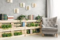 Sivé kreslo ušiak a paletová polica na knihy a rastliny