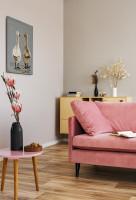 Ružová pohovka a okrúhly stolík v škandinávskej obývačke
