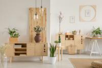 Drevené komody vo svetlej obývačke s pracovňou