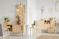 Drevené komody a rastlinné dekorácie v škandinávskom štýle
