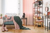 Čierny kovový nábytok v ružovej študentskej izbe