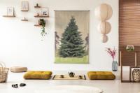 Vankúše na sedenie a prírodné dekorácie v japonskom štýle