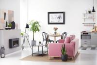 Ružová pohovka v malej škandinávskej obývačke