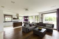 Sivá rohová sedačka v priestrannej obývačke s kuchyňou
