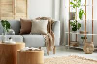 Pohovka s dekoračnými vankúšmi v škandinávskej obývačke