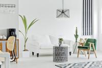 Zelené retro kreslo v čierno-bielej škandinávskej obývačke