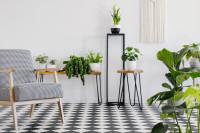 Retro kreslo a odkladacie stolíky s izbovými rastlinami
