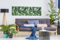 Sivá pohovka a rastlinné dekorácie v škandinávskej obývačke