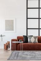 Elegantná hnedá pohovka v čierno-bielej obývačke