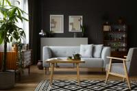 Svetlá pohovka a kreslo v tmavej retro obývačke