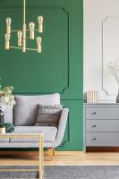 Sivá pohovka v kontraste so zelenou stenou