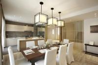 Dlhý jedálenský stôl a biele stoličky v modernej jedálni