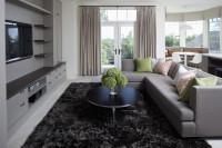 Moderná sivá obývačka s tmavým shaggy kobercom