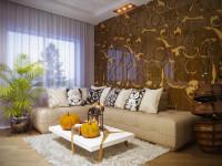 Béžová rohová sedačka a jesenné dekorácie v modernej obývačke