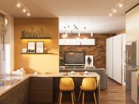 Jedálenské stoličky v modernej žlto-hnedej kuchyni
