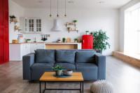 Sivá pohovka v škandinávskej obývačke s kuchyňou