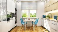 Biela kuchyňa a jedálenský stôl s tyrkysovými stoličkami
