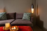 Sivá látková pohovka a dekoračné vankúše v útulnej obývačke