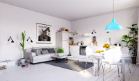 Jednopriestorové štúdio s bielym nábytkom a modrým lustrom