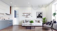 Moderná obývačka a kuchyňa v jednej miestnosti