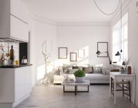 Garzónka v škandinávskom štýle s bielym nábytkom